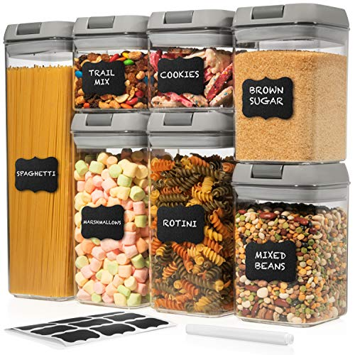 Shazo Airtight Container Set for Food Storage - 7 Pc Set wGray Interchangeable Lids - Heavy Duty BPA Free Plastic - Airtight Storage Clear Plastic Kitchen Counter Storage Container -18 LabelsMarker