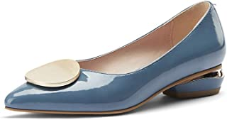 TinaCus Glossy Patent Leather Women's Handmade Cute Decor Pointed Toe Low Chunky Heel Slip On Comfortable Loafer Pump Shoes (blue, US4.5)