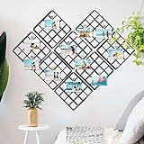 COAWG DIY Rejilla de Hierro para Fotos, Combinación Libre Panel de Cuadrícula Multifuncional, Decoración de Pared, Exhibición de Arte,(Negro, 20 * 4.5cm-9Pcs)