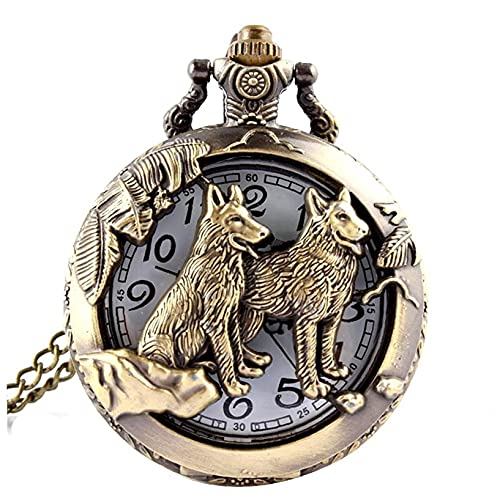 1 UNID Unisex Bolsillo Reloj analógico Cuarzo Retro Wolves Reloj de Bolsillo con Cadena Dial Blanco Números árabes Black Steampunk Bolsillo Relojes Regalos Bronce