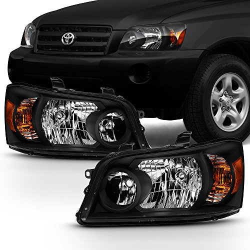 For 2004-2006 Toyota Highlander Black Headlights Driver Left+ Passenger Right Side Pair Replacement