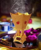 Oud Frankincense Resin Luxury Gold Color Electric Incense Burner with Dazzling Red Diamond, 110V for USA/Canada