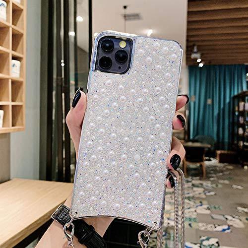 LIUYAWEI Crystal Necklace Lanyard Phone Case para iPhone 11 Pro MAX X XR XS 7 8 6 6s Plus Fundas Cord Crossbody Cover, C, para iPhone 11