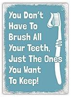 2個 あなたはあなたの歯を磨く必要はありません青いさび金属サイン男洞窟金属サイン8X12インチ