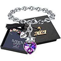 Yoosteel Inspirational 2021 Graduation Charm Bracelet for Her (various letters)