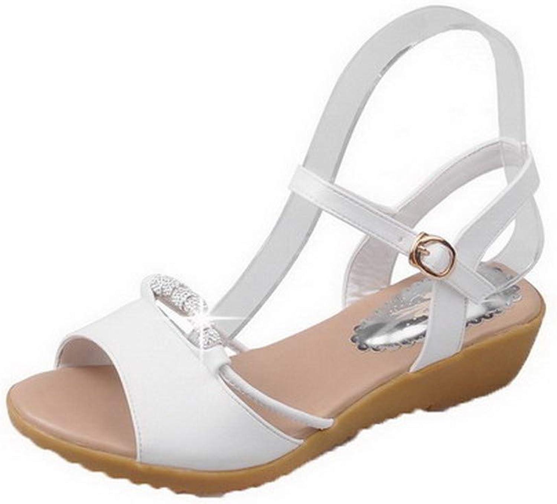 WeiPoot Women's Open-Toe Buckle Pu Solid Low-Heels Sandals, EGHLH007993