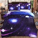 WONGS BEDDING uego de Funda de Edredón con Fundas de Almohada para Adultos y Adolescentes Tamaño Grante Diseño de Galaxia 135x200cm