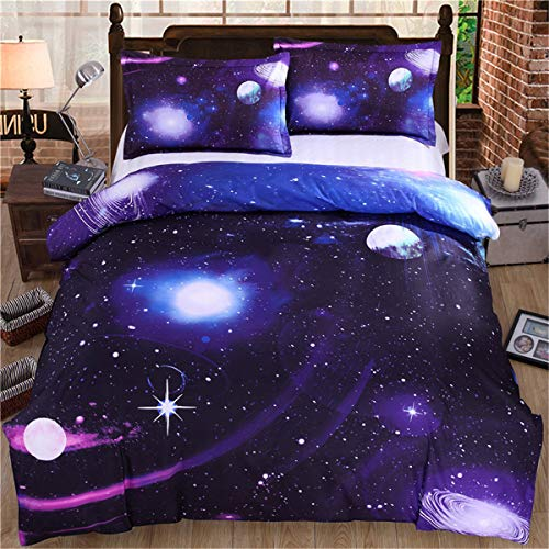 Galaxy Duvet Cover Set 3 Pieces Reversible Sky Universe Moon Printed Bedding Quilt Cover with Zipper Closure for Bedding Decro, Ultra Soft Microfiber Double Size 200x200 cm