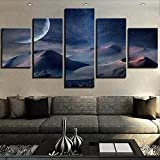 Carteles modulares de dunas de arena impresos decoración del hogar fotos artísticas de pared 5 piezas paisaje de arte lunar-20x30-20x40-20x50cm