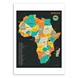 Wall Editions Art-Poster - Africa Map - Jazzberry Blue