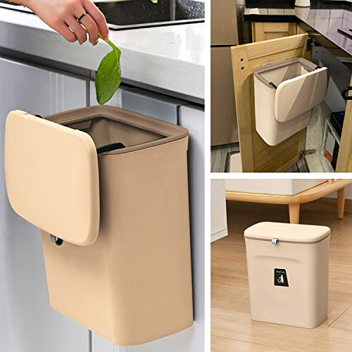 KaryHome Small Kitchen Trash Can with Lid,Hanging Trash Can for Kitchen Cabinet Door or Under Sink,Mountable Compost Bin,White (Coffee)