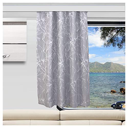 SeGaTeX home fashion Wohnmobil Caravan-Vorhang Primavera grau Wohnwagengardine mit Reihband (Höhe & Breite nach Maß)