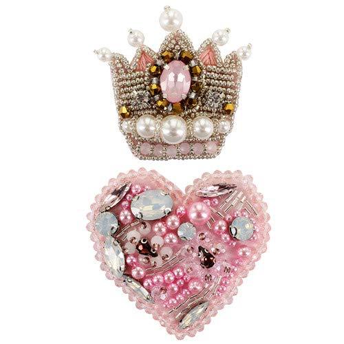 EMDOMO Perlen-Brosche, Strasssteine, Rosa, Herz-Anstecker, Strasssteine, zum Aufnähen, für Schuhe, Strumpf, 2 Stück