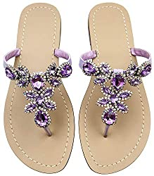 Purple Rhinestone Flat Flip Flop Sandal