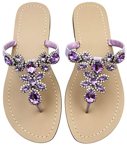 Hinyyrin Women's Summer Rhinestone Bling Wedding Sandals,Glitter Jeweled Sandals,Dressy Flat Sandals,Beach Flip-Flops, Size 9 Purple Lavender
