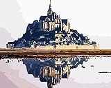 GJNFVFDF Pintura por Número para Adultos, DIY Pintura al óleo sobre Lienzo para Adultos Principiantes Decoración de Regalo de cumpleaños Navidad - Mont Saint-Michel (40x50cm, Sin Marco)