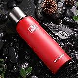 Termo de la Taza al Aire Libre Termo Tazas de Agua portátil de Gran Capacidad de Aislamiento Copa Taza del Acero Inoxidable Botella de vacío, de Plata, 1000ml SHIYUE (Color : Red, Size : 1500ML)