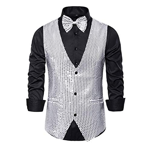 MENDENG Mens Silver Suit Vest Waistcoat Tuxedo with Bow Ties Sets for Men Formal