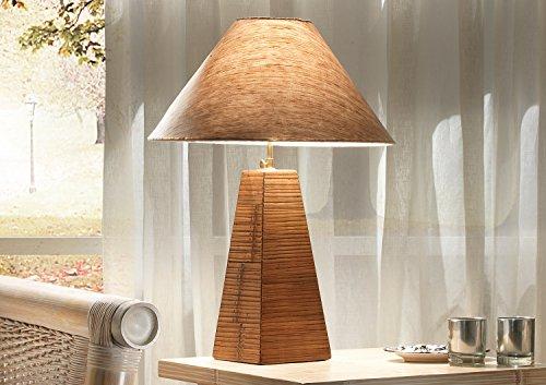 Möbel Bressmer Bambus Tischlampe Tabanan Natur | Tischleuchte mit Lampenschirm | Höhenverstellbar 65-75 cm | Leselampe Holz