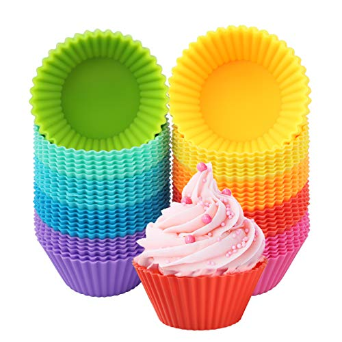 60 Pack Silicone Cupcake Baking Cups, Reusable Muffin Cups Colorful Cupcake Liners Nonstick Muffin Liners for Baking Egg Muffins Pudding Chocolate Truffles in 10 Colors