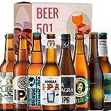 Cervezas degustación BEER 501 - Caja IPA: Cibeles, Maisel, Brewdog Punk, Ambar, La Sagra, La Virgen, Alhambra Citra, Complot. I Las mejoras cervezas para regalar y disfrutar.