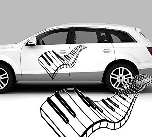 Autosticker, autotattoo, piano, keyboard, toetsen 60,00 cm x 43,00 cm (KLEIN) zwart