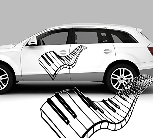 Autosticker, autotattoo, piano, keyboard, toetsen 60,00 cm x 43,00 cm (KLEIN) wit