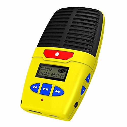 Talking Products Micro Speak Digital Voice Recorder, 8 GB Speicher, wiederaufladbares tragbares Diktiergerät mit eingebautem Mikrofon, Lautsprecher und USB, 96 Stunden Aufnahmezeit – Gelb