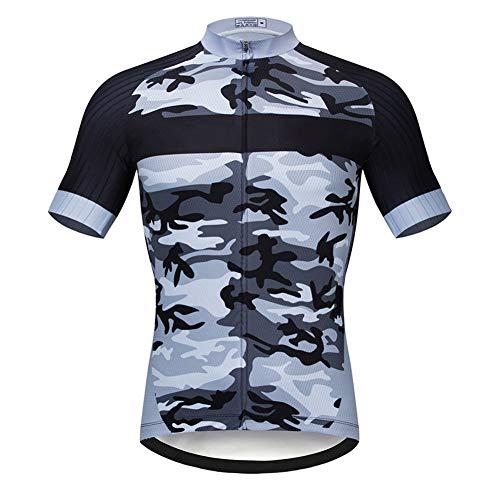 Herren Kurzarm-Radtrikot MTB T-Shirt, Leichtes elastisches Laufrad Top Sommer Schnell trocknende Mountainbike-Trikots
