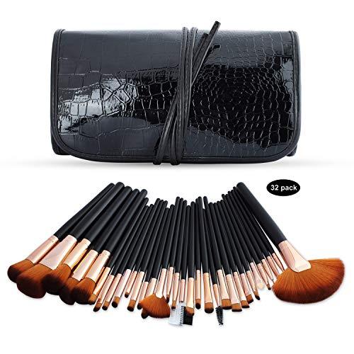Ensemble de pinceaux de maquillage Kits de maquillage professionnels Brosses Ensemble de maquillage cosmétique avec étui en cuir, Fondation Eyeliner Blending Concealer Mascara Fard à (32 pièces)