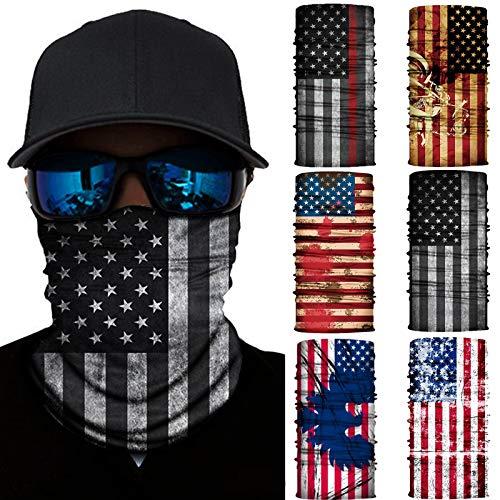 6 Pieces Sun UV Protection Face Mask Neck Gaiter Scarf Sunscreen Breathable Bandana (National flag)