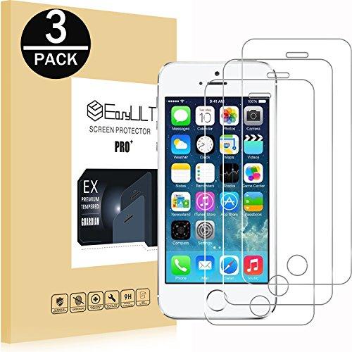 EasyULT Vetro Temperato Compatibile con iPhone 5S/SE/5/5C [3 Pezzi], Pellicola Protettiva in Vetro Temperato Screen Protector per iPhone 5S/SE/5/5C