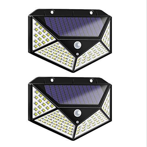 Ibello Luce Solare Esterno 100 LED Lampada Solare con Sensore di Movimento 3 Modalità di Funzionamento Energia Solare per Giardino Parete(2 pezzi)