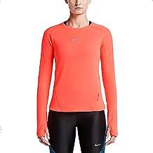 Nike Womens Dri-Fit AeroReact Running Shirt 686957 (Small, Bright Crimson)