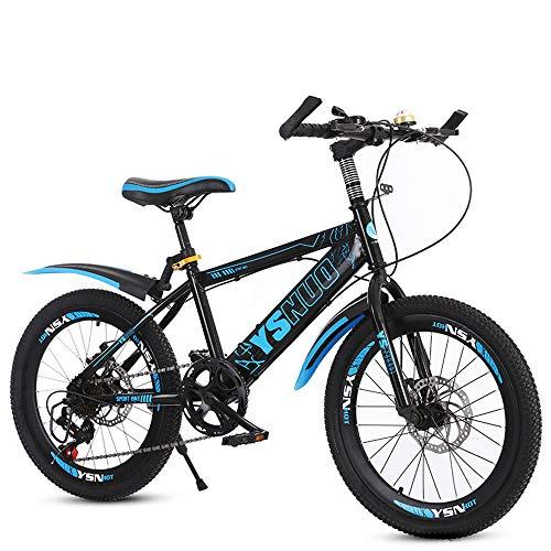 TATANE Kinder Mountainbikes, Studenten Dual-Scheibenbremsen, 6-13 Jahre Alten Jungen Und Mädchen 20 Zoll 22 Zoll Jugend Fahrräder,Blau,20 inches