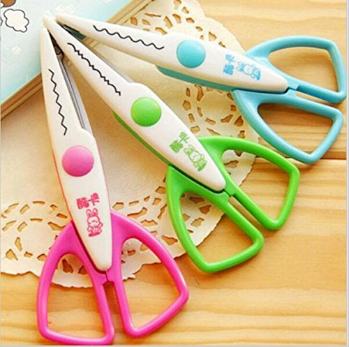 Fascola 3pcs lace Scissors Metal and Plastic DIY Scrapbook Paper Photo Tools Diary Decoration Safety Scissors 3 Styles Selection