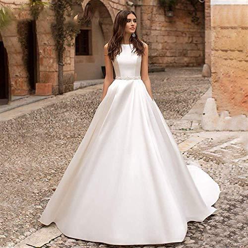 Home Accessories Stylish Simplicity Dress Ashley Carol Fashion O-Neck Satin Stylish Simplicity Dress 2019 Luxury Beaded A-Line Bridal Dress Elegant French Simple Gowns Stylish Simplici