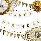 誕生日 飾り付け ゴールド パーティー デコレーション セット Happy Birthday バナー バースデー ガーランド きらきら ペーパーファン お食い初め 100日お祝い 飾り 部屋 撮影