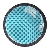EZIOLY Türkise geometrische Kreise mit Punkten, dekorative Knöpfe, Schrankknöpfe, Schrank, Schubladen, Kommode, Zuggriff, 4 Stück