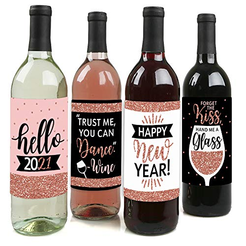 Big Dot of Happiness Rose Gold Happy New Year - 2021 New Years Eve Party Decorations for Women and Men - Wine Bottle Label Stickers - Set of 4