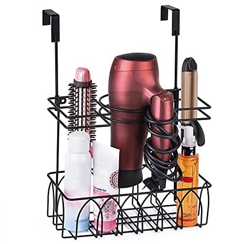 Alsonerbay Hair Dryer Holder Wall-Mounted/Door-Hanging Hair Tool Storage Caddy Bathroom Metal Basket for Hair Care & Styling Tool Multifunctional Hair Tool Organizer 3 Sections - Black