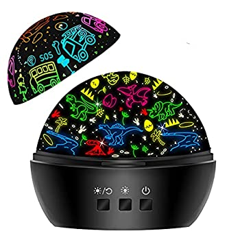 Night Light for Kids,Dinosaur Night Light Projector for Kids Toddler Boys,2 in 1 Toys for 3-8 Year Old Boys,Chirstmas Xmax Birthday Gifts for Children,Baby Toys Stocking Stuffer-Light Black