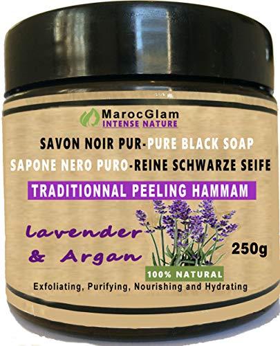 Savon Noir Gommage 250g à l'huile d'Argan et l'huile essentielle de lavande; 100% NATUREL Hammam et Spa pour une peau douce et hydratée MAROC GLAM