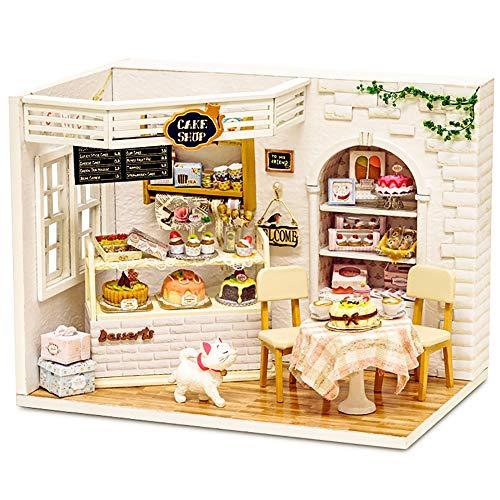 CUTEBEE Puppenhaus Miniatur mit Möbeln, Idee DIY hölzernes Puppenhaus-Kit , Maßstab 1:24 Kreativraum