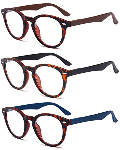 VEVESMUNDO Lesebrillen Damen Herren Rund Retro Nerd Groß Design Vollrand Federnscharnier Lesehilfe Sehhilfe Brillen mit dioptrien 1.0 1.5 2.0 2.5 3.0 3.5 4.0 (+2.5, 3 Farben(Schwarz+Braun+Blau))