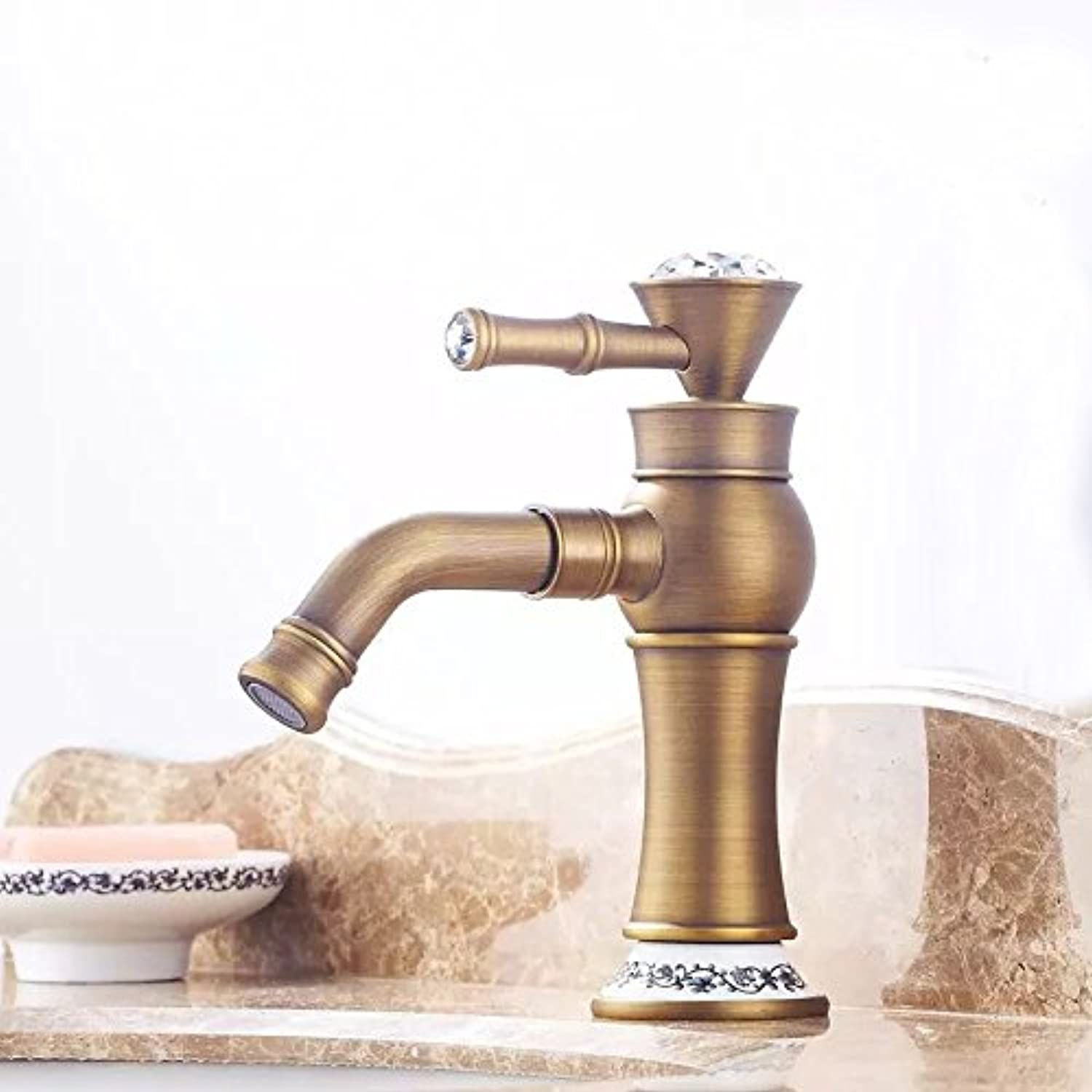 ETERNAL QUALITY Bathroom Sink Basin Tap Brass Mixer Tap Washroom Mixer Faucet Hot and cold basin gold kitchen faucet hot and cold basin A antique ceramic low Kitchen Sin