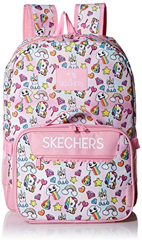 Skechers Kids Girls' Little Fushion Combo Backpack, Pink, Youth Size