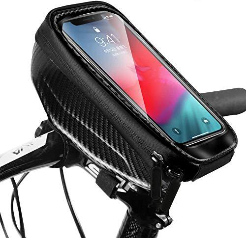 Snowpea Bici Borse Bicicletta Telaio Anteriore Borsa Impermeabile Manubrio Ciclismo Touch Screen Portacellulare Grande capacità Adatto per telefoni sotto 6.7 Pollici