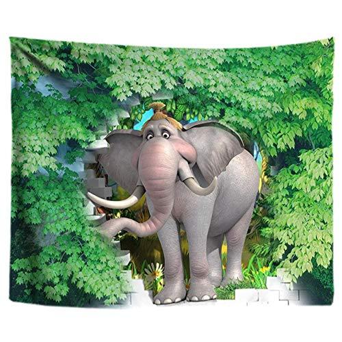 Hojas Verdes Tapiz de Plantas Elefante Colgante de Pared Mandala Animal Hippie Tapiz Tela psicodélica Boho Decoración Alfombra Cortina 40x60 Pulgadas