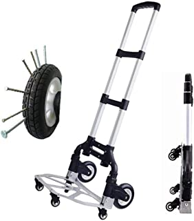 Aluminum Allo Multi-Functional Trolley on Wheels With Anti Puncture Explosion-Proof Wheels and 70 kg Capacity,Silver Movin...